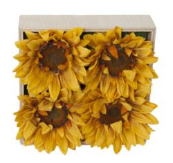 Concobox Girasol amarillo(4) base natural -20x20cm